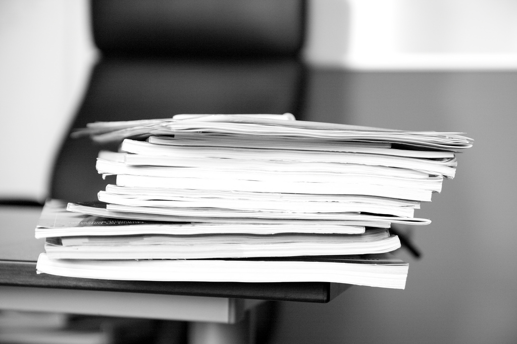 Paper pile - April 2011 - 2 by Sebastien Wiertz used under CC License